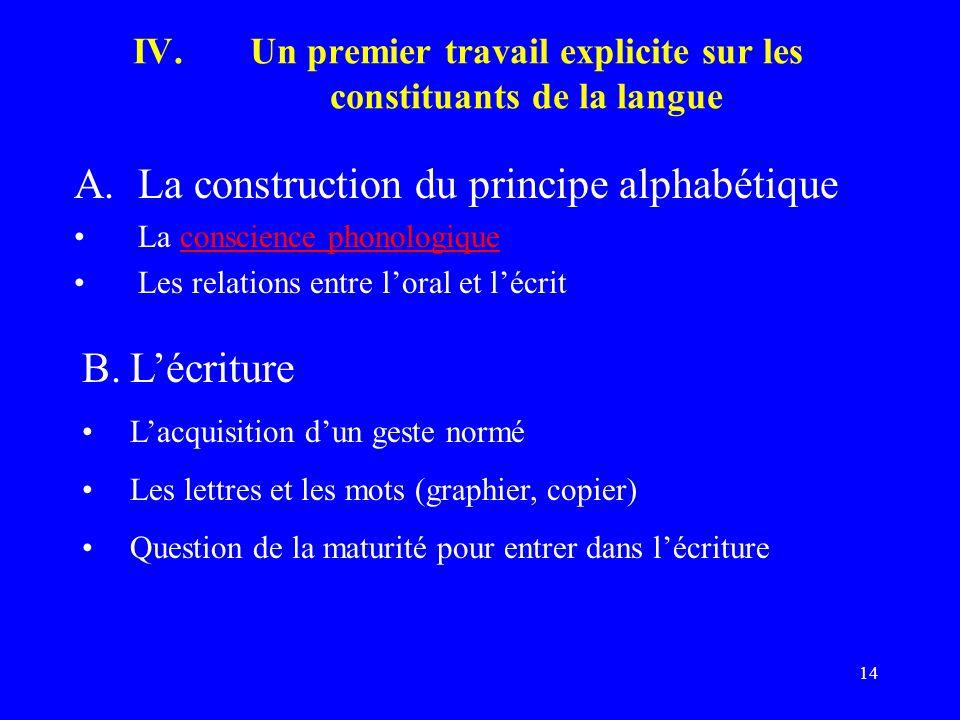Un premier travail explicite sur les constituants de la langue