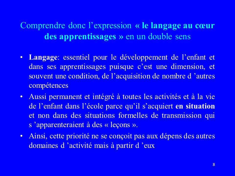 Comprendre donc l'expression « le langage au cœur des apprentissages » en un double sens