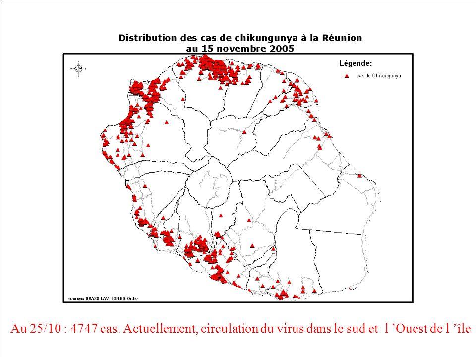 Au 25/10 : 4747 cas. Actuellement, circulation du virus dans le sud et l 'Ouest de l 'île