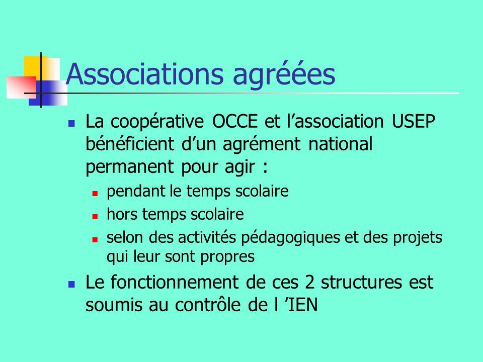 Associations agréées La coopérative OCCE et l'association USEP bénéficient d'un agrément national permanent pour agir :