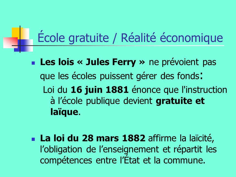 École gratuite / Réalité économique