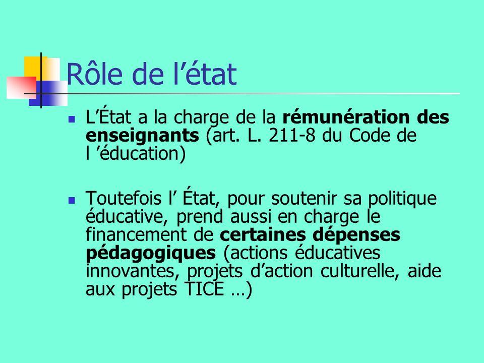 Rôle de l'état L'État a la charge de la rémunération des enseignants (art. L. 211-8 du Code de l 'éducation)