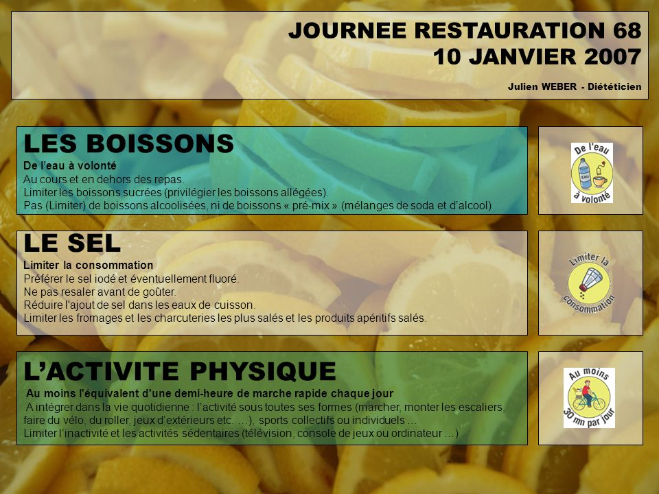 LES BOISSONS LE SEL L'ACTIVITE PHYSIQUE JOURNEE RESTAURATION 68