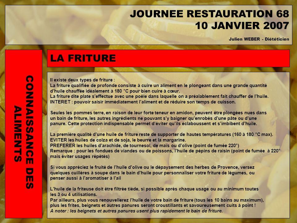 JOURNEE RESTAURATION 68 10 JANVIER 2007 LA FRITURE CONNAISSANCE DES