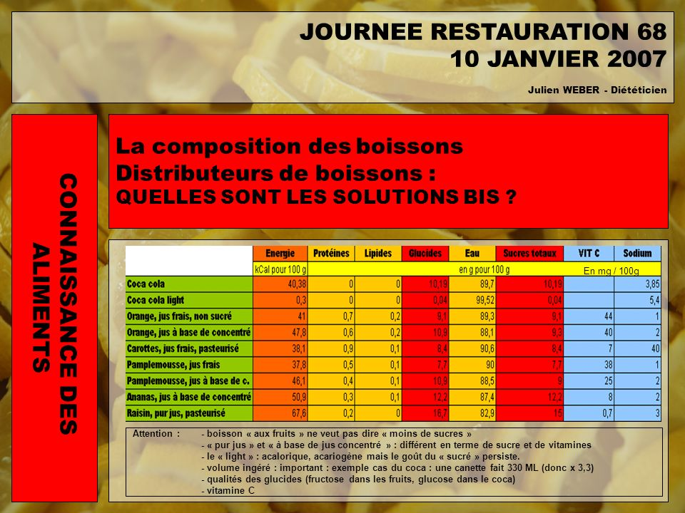 JOURNEE RESTAURATION 68 10 JANVIER 2007 CONNAISSANCE DES ALIMENTS
