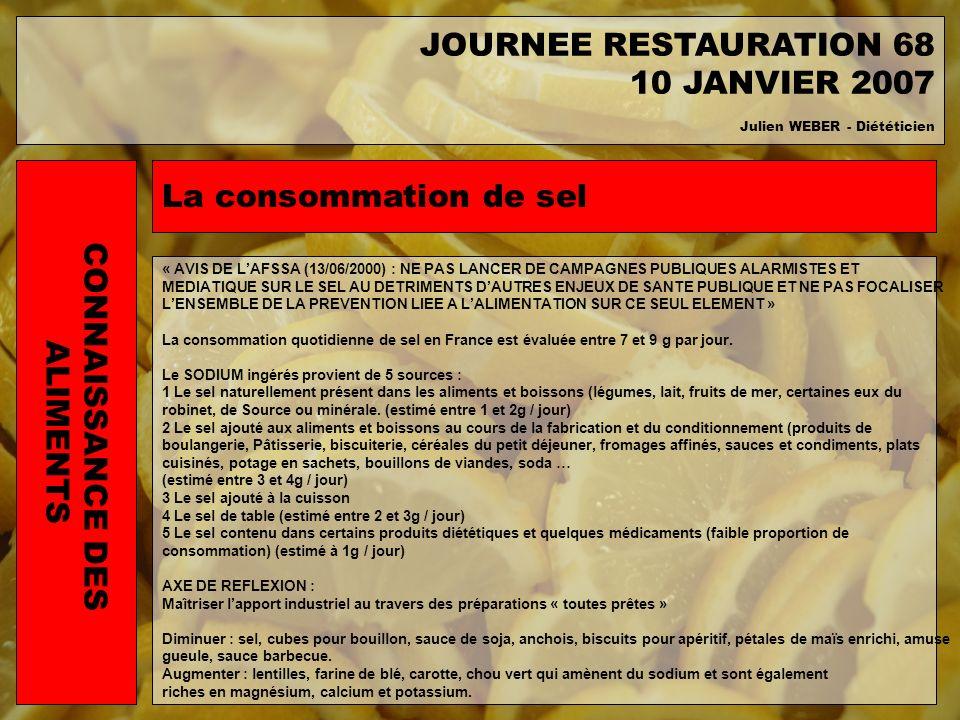 JOURNEE RESTAURATION 68 10 JANVIER 2007 La consommation de sel