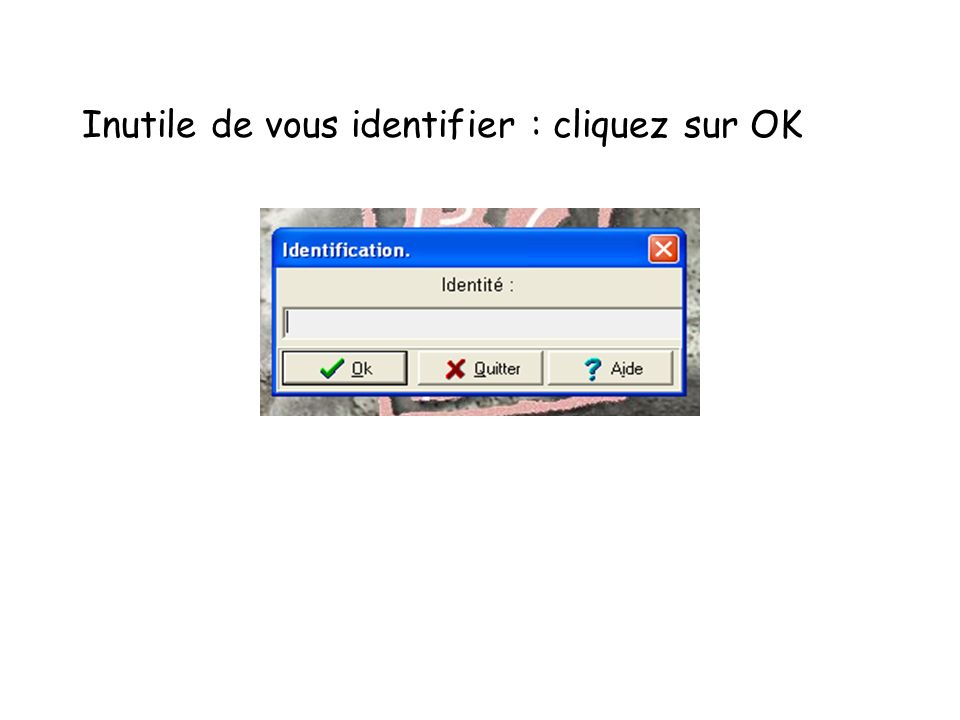 Inutile de vous identifier : cliquez sur OK