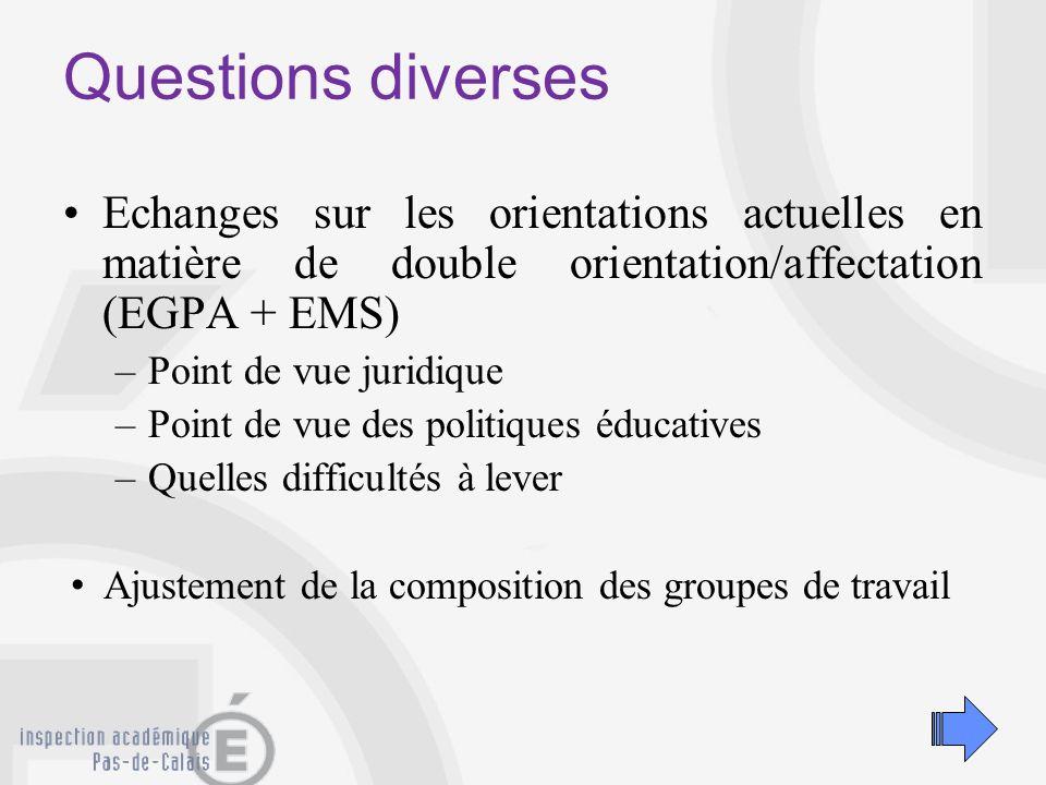 Questions diverses epères pour le département: Année 2001- 2002.