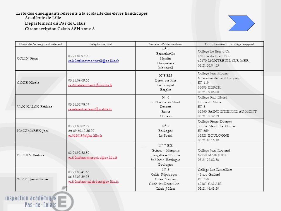 Liste des enseignants référents à la scolarité des élèves handicapés