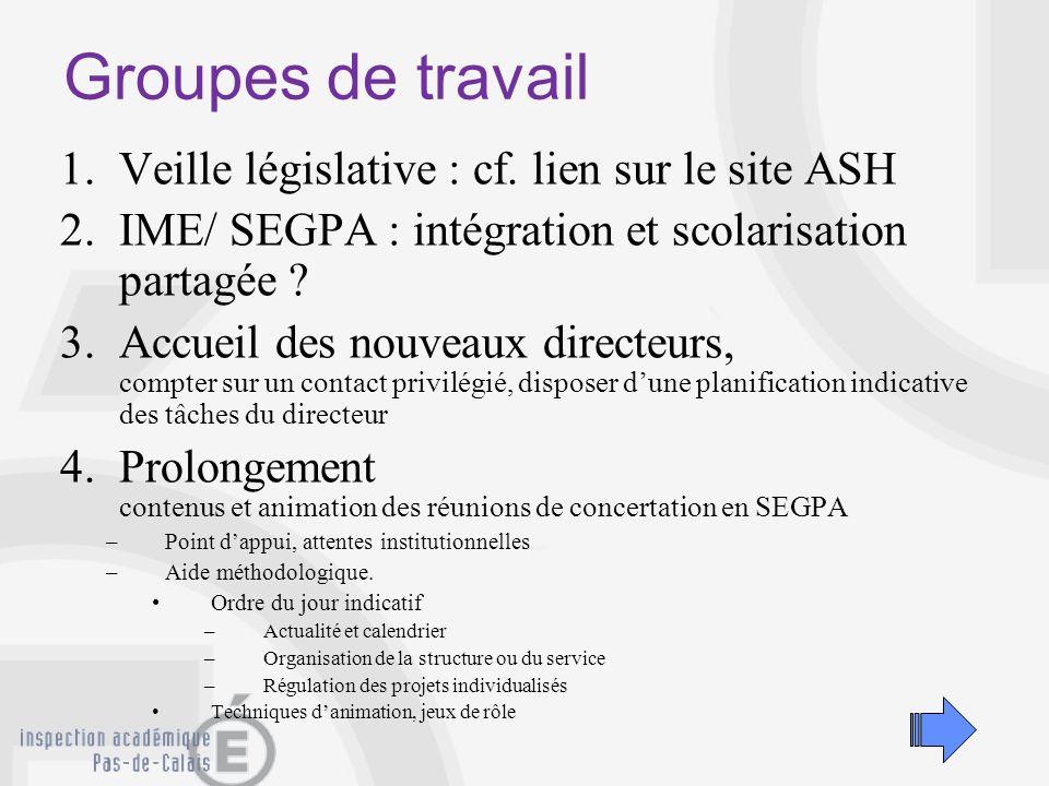 Groupes de travail Veille législative : cf. lien sur le site ASH