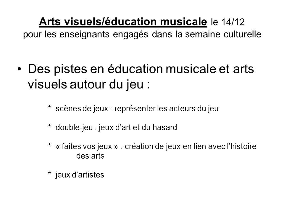Des pistes en éducation musicale et arts visuels autour du jeu :