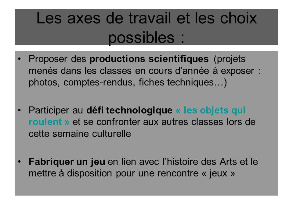 Les axes de travail et les choix possibles :