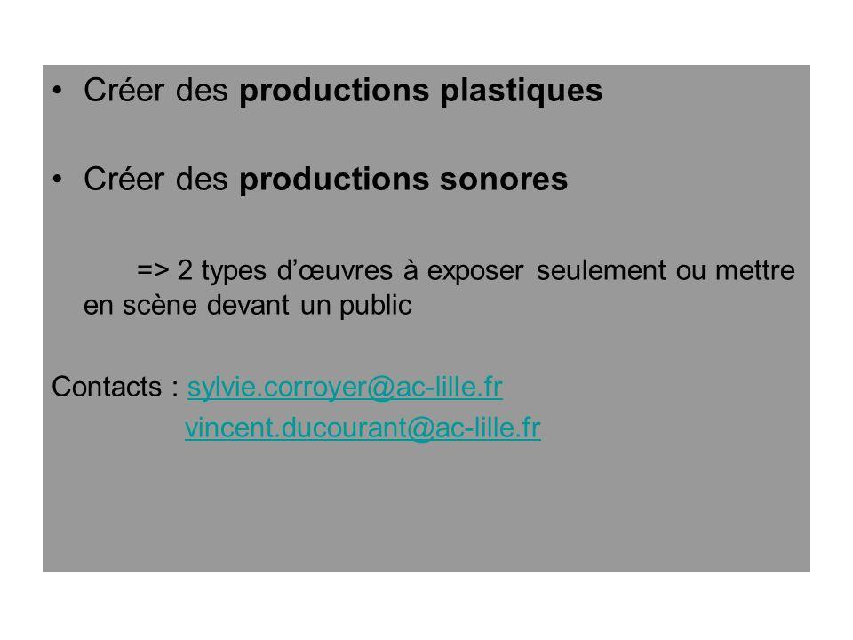 Créer des productions plastiques Créer des productions sonores