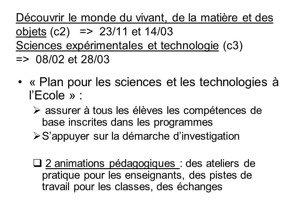 « Plan pour les sciences et les technologies à l'Ecole » :
