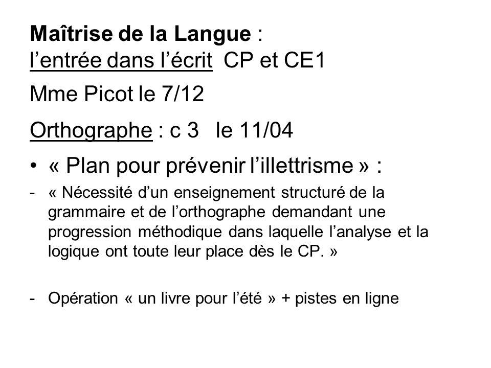 « Plan pour prévenir l'illettrisme » :
