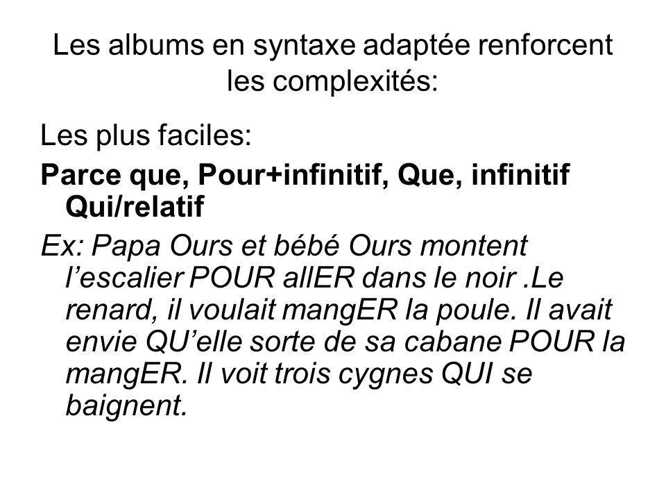 Les albums en syntaxe adaptée renforcent les complexités: