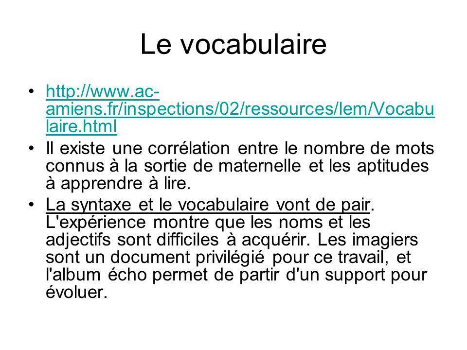 Le vocabulaire http://www.ac-amiens.fr/inspections/02/ressources/lem/Vocabulaire.html.
