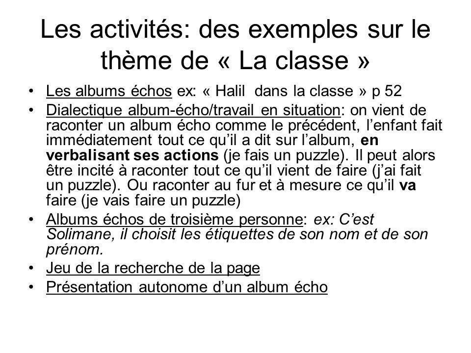 Les activités: des exemples sur le thème de « La classe »