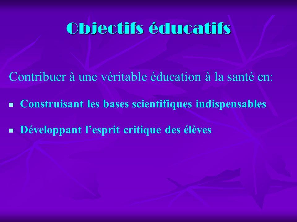 Objectifs éducatifs Contribuer à une véritable éducation à la santé en: Construisant les bases scientifiques indispensables.