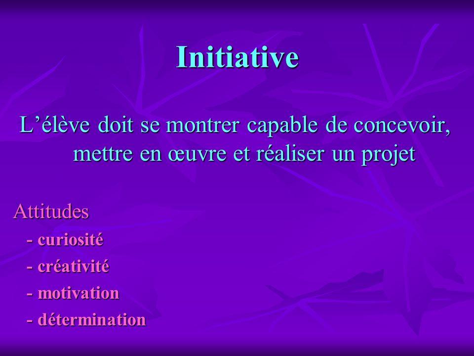 InitiativeL'élève doit se montrer capable de concevoir, mettre en œuvre et réaliser un projet. Attitudes.