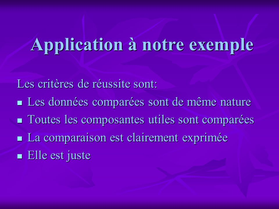 Application à notre exemple