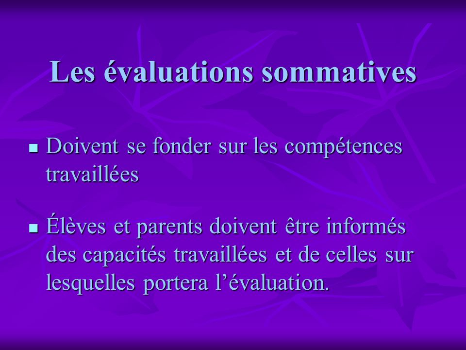 Les évaluations sommatives