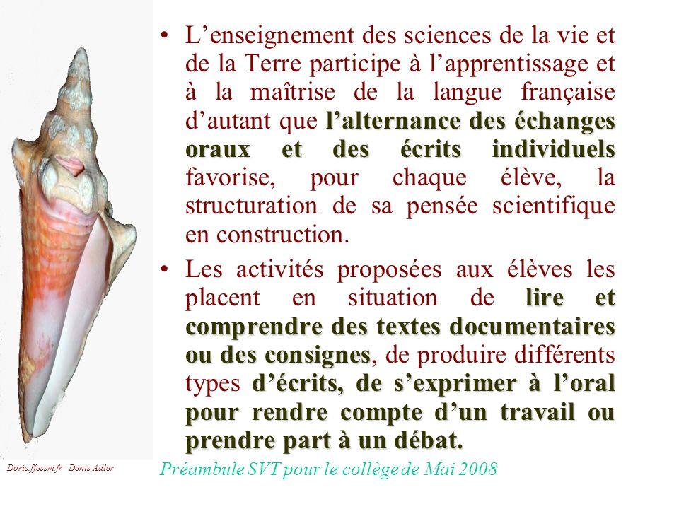 L'enseignement des sciences de la vie et de la Terre participe à l'apprentissage et à la maîtrise de la langue française d'autant que l'alternance des échanges oraux et des écrits individuels favorise, pour chaque élève, la structuration de sa pensée scientifique en construction.