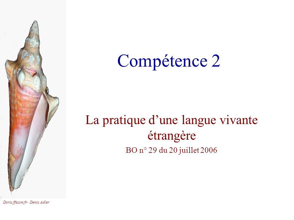 La pratique d'une langue vivante étrangère BO n° 29 du 20 juillet 2006