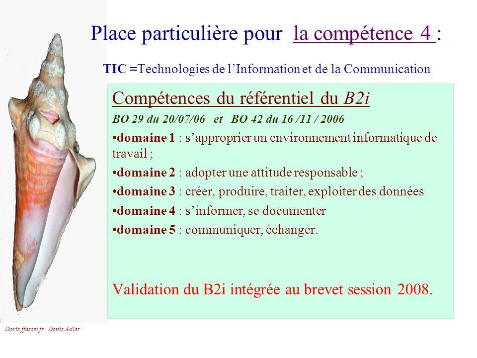Place particulière pour la compétence 4 : TIC =Technologies de l'Information et de la Communication