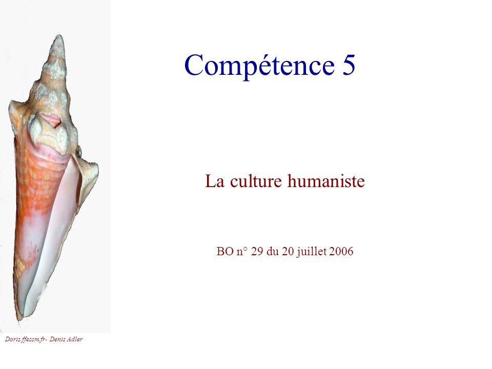 Compétence 5 La culture humaniste BO n° 29 du 20 juillet 2006