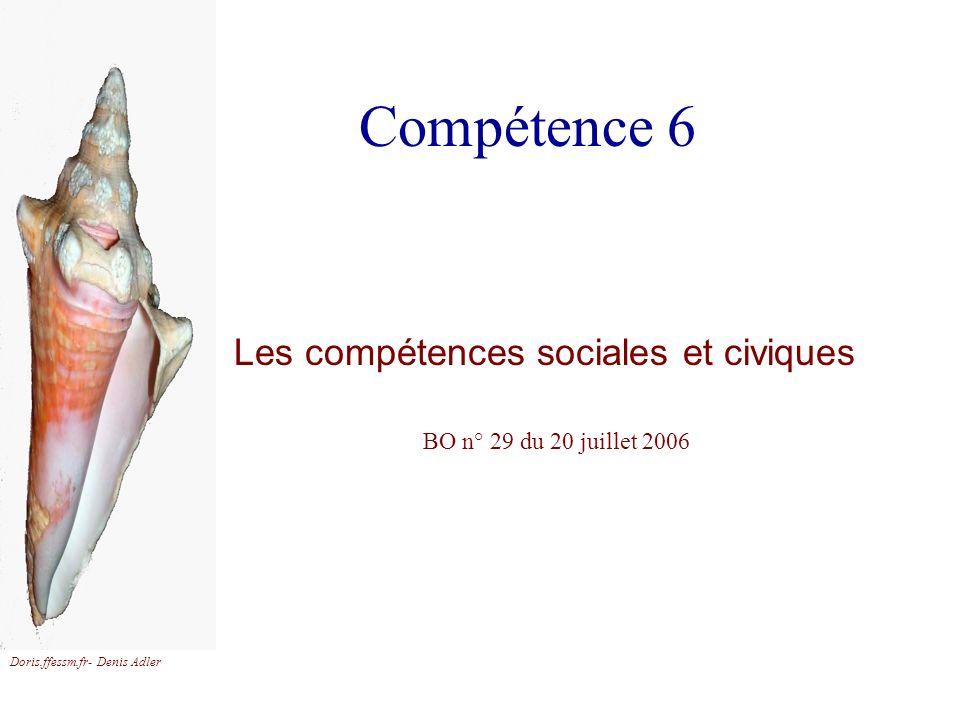 Compétence 6 Les compétences sociales et civiques