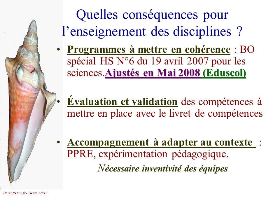 Quelles conséquences pour l'enseignement des disciplines