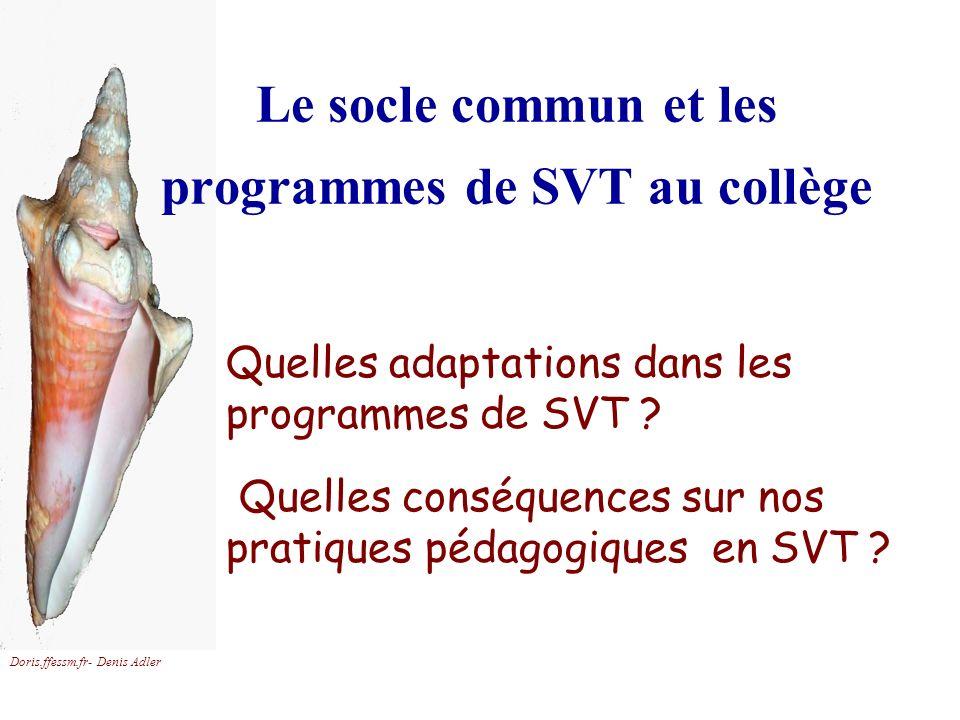 Le socle commun et les programmes de SVT au collège