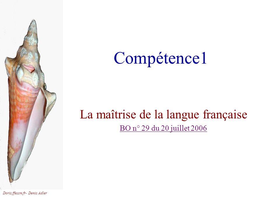 La maîtrise de la langue française BO n° 29 du 20 juillet 2006