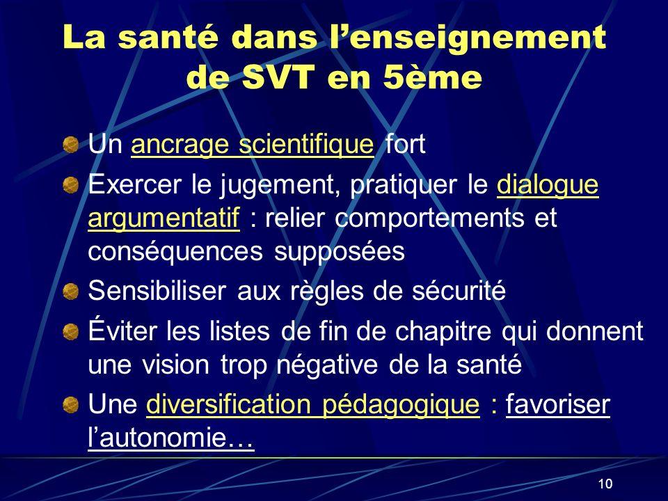 La santé dans l'enseignement de SVT en 5ème