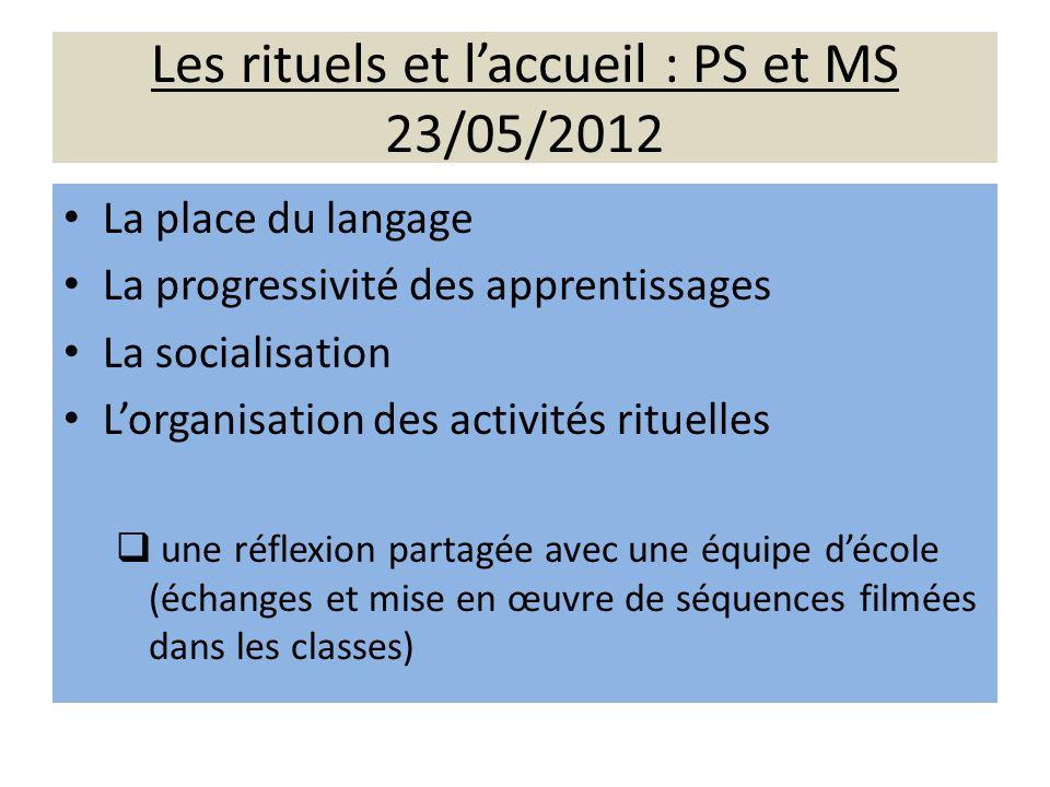 Les rituels et l'accueil : PS et MS 23/05/2012