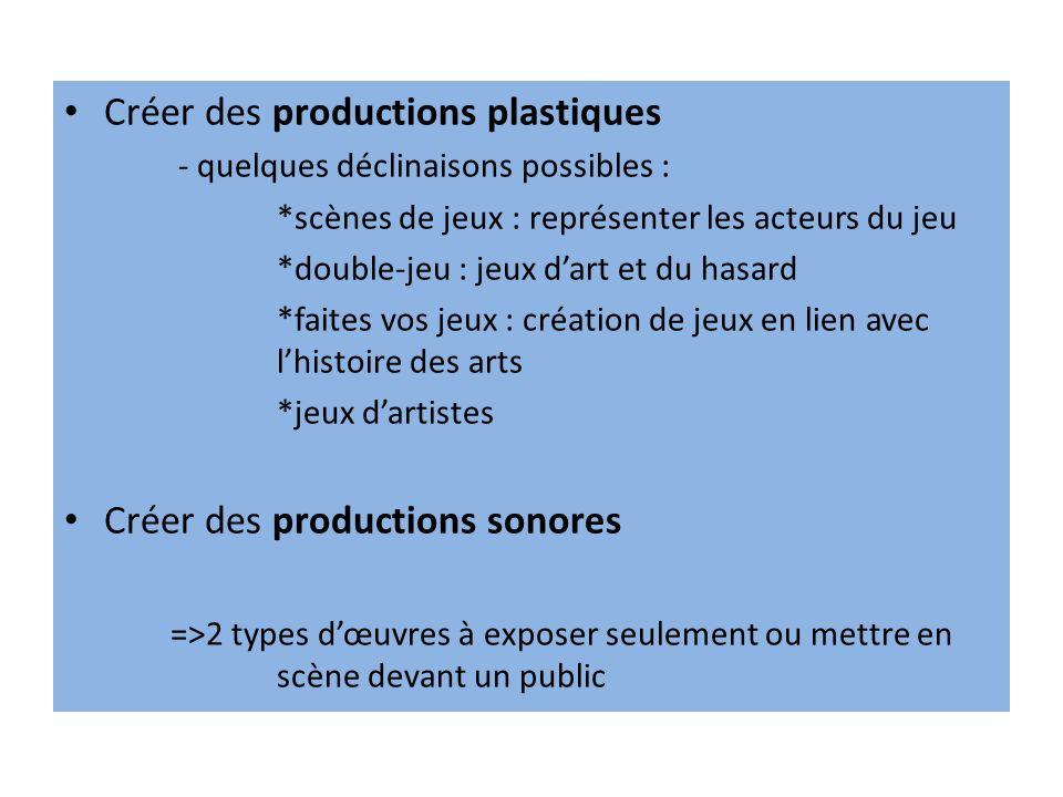 Créer des productions plastiques
