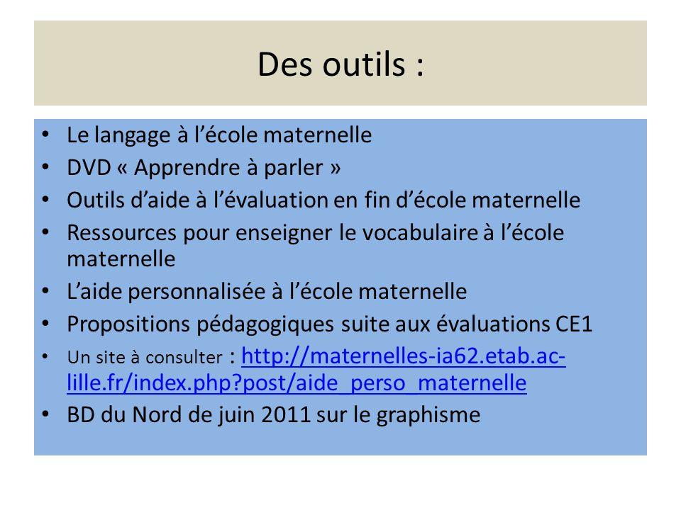 Des outils : Le langage à l'école maternelle