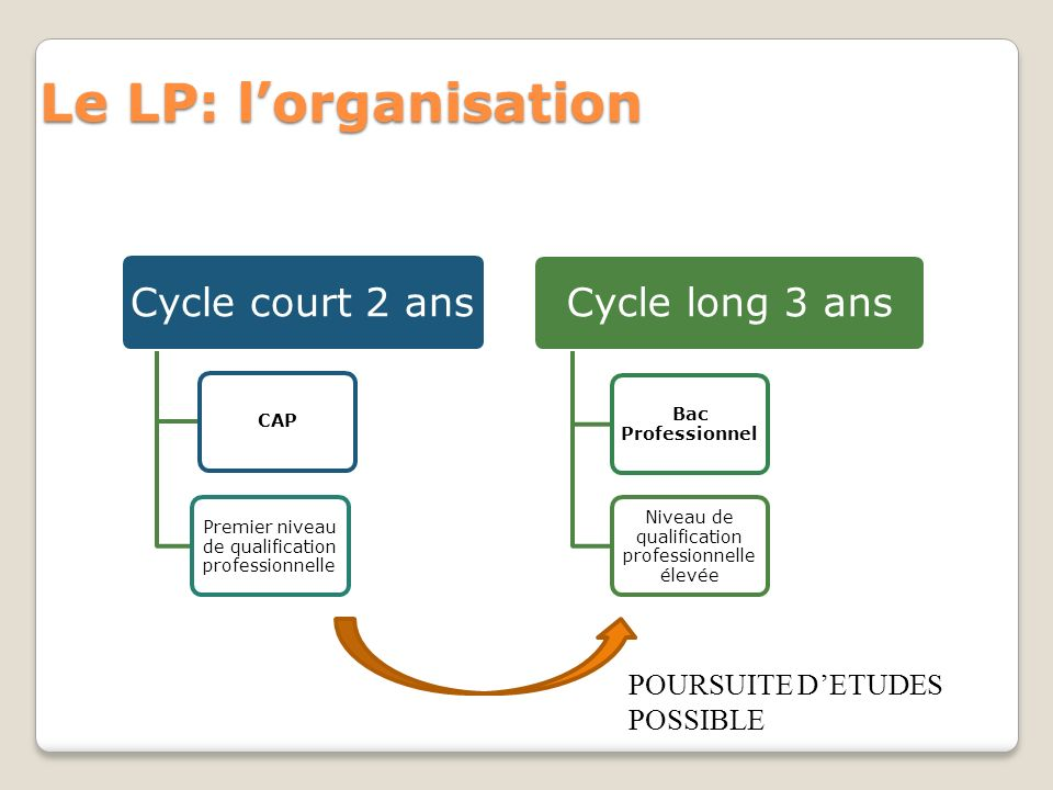 Le LP: l'organisation Cycle court 2 ans Cycle long 3 ans