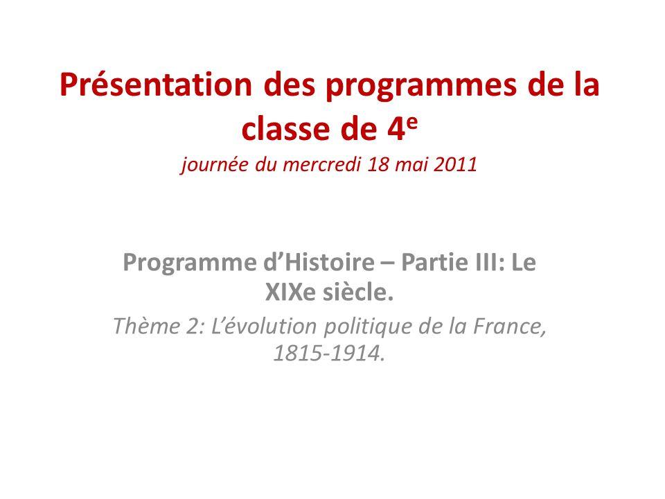 Programme d'Histoire – Partie III: Le XIXe siècle.