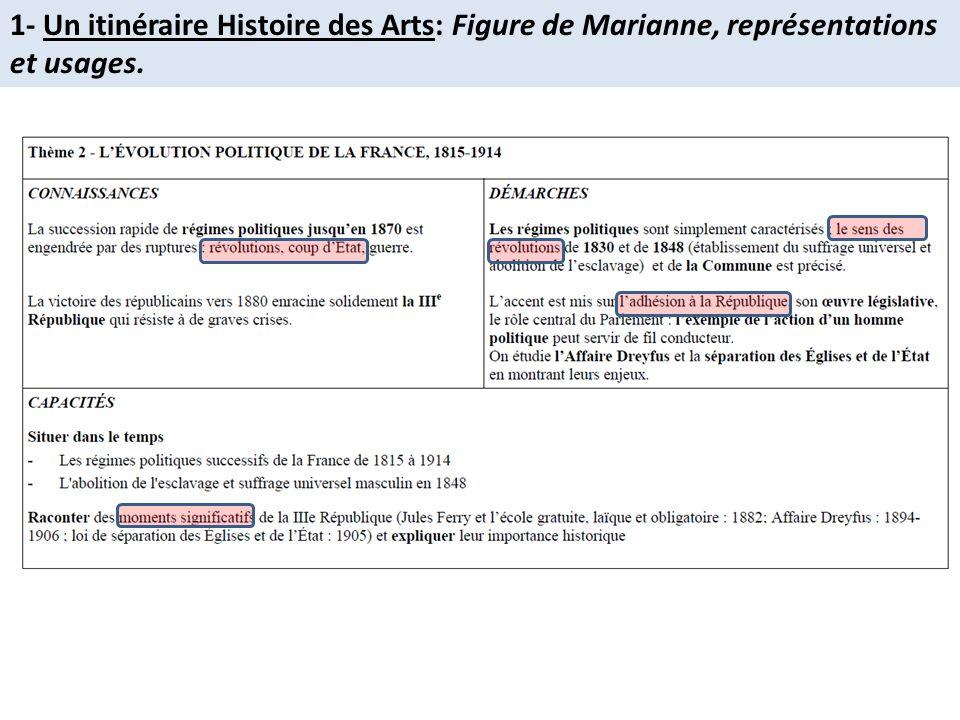 1- Un itinéraire Histoire des Arts: Figure de Marianne, représentations