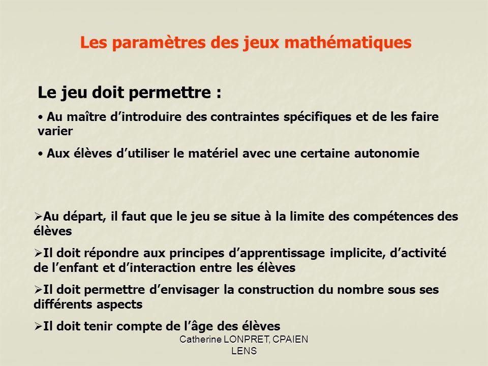 Les paramètres des jeux mathématiques
