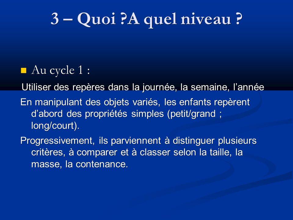 3 – Quoi A quel niveau Au cycle 1 :