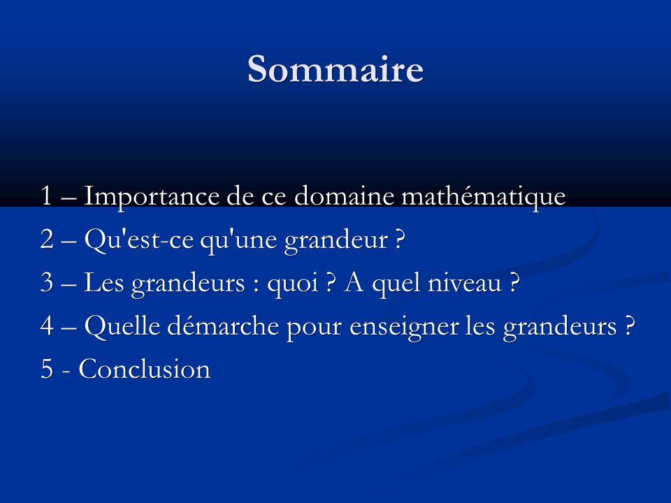 Sommaire 1 – Importance de ce domaine mathématique