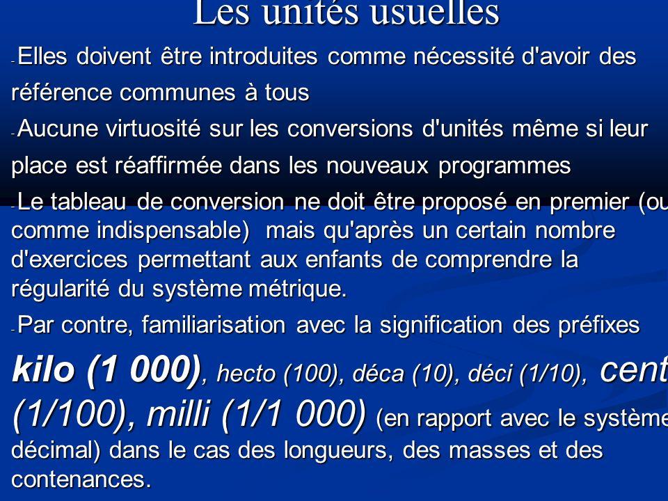 Les unités usuelles- Elles doivent être introduites comme nécessité d avoir des. référence communes à tous.