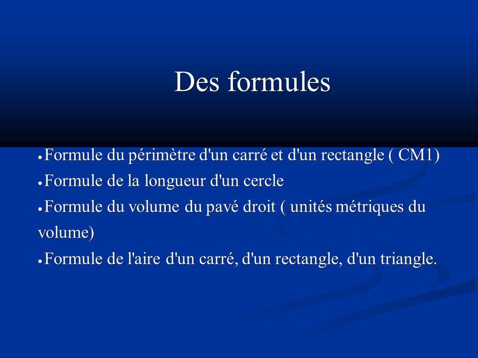 Des formules● Formule du périmètre d un carré et d un rectangle ( CM1) ● Formule de la longueur d un cercle.