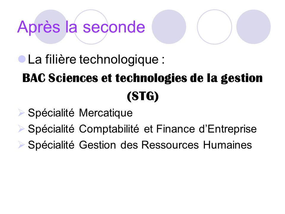 BAC Sciences et technologies de la gestion