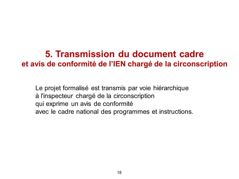 5. Transmission du document cadre