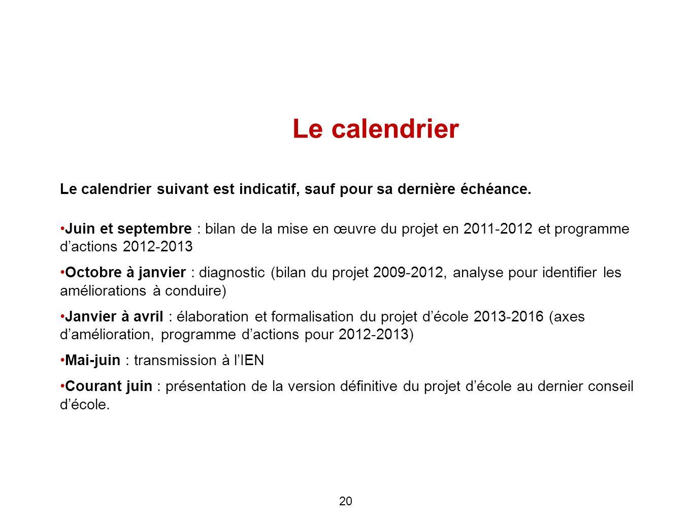 Le calendrier Le calendrier suivant est indicatif, sauf pour sa dernière échéance.