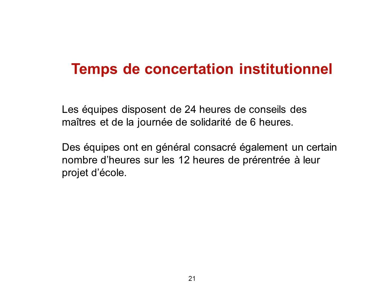 Temps de concertation institutionnel